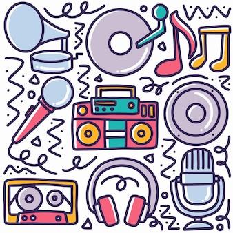 Doodle conjunto de ferramentas de música desenhando à mão com ícones e elementos de design