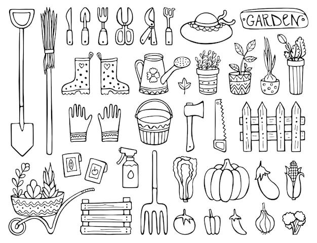 Doodle conjunto de ferramentas e ilustração de elementos de jardim