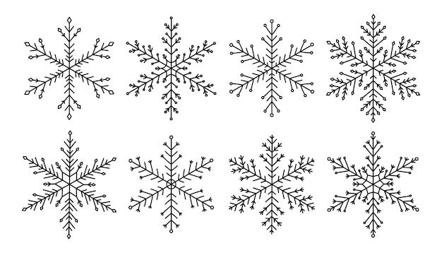 Doodle conjunto de flocos de neve isolado no fundo branco