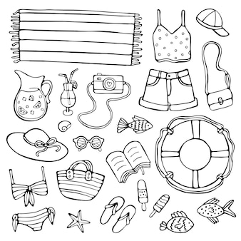 Doodle conjunto de ilustração de elementos de verão