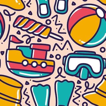 Doodle conjunto de mão de feriado marítimo desenhando com ícones e elementos de design