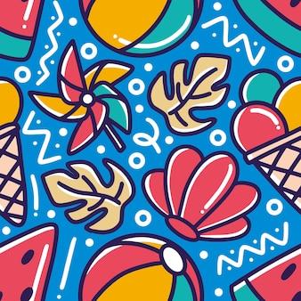 Doodle conjunto de mão de férias de verão desenhando com ícones e elementos de design