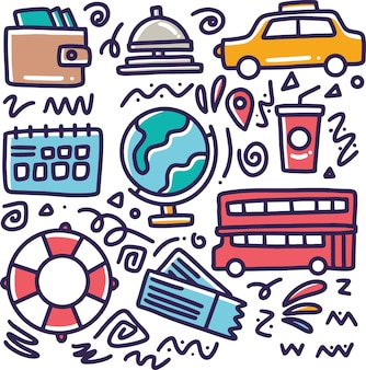 Doodle conjunto de mão de férias desenhando com ícones e elementos de design