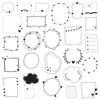 Doodle conjunto de quadro e borda de linha preto e branco