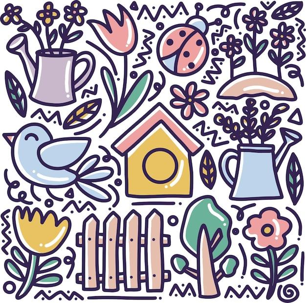 Doodle conjunto de tempo de primavera desenhado à mão com ícones e elementos de design
