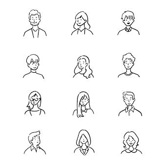 Doodle conjunto de trabalhadores de escritório de avatar, pessoas alegres, estilo ícone desenhado à mão, design de personagens, ilustração.