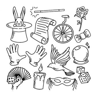 Doodle conjunto ilustração mágica