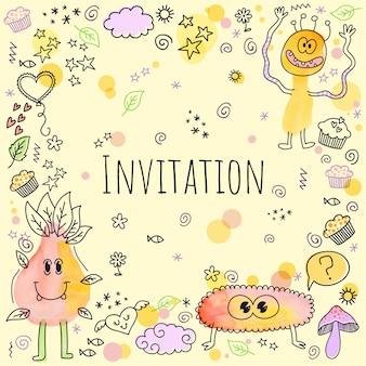 Doodle convite com personagens fofinhos de monstro e enfeites de cupcakes de doodle