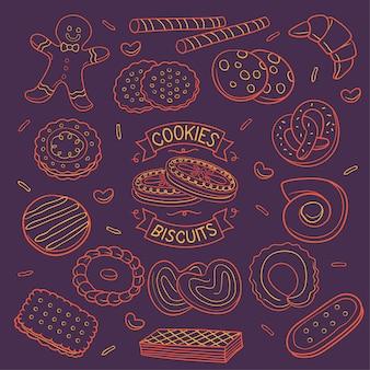 Doodle cookies e biscoitos cor de néon sobre fundo escuro