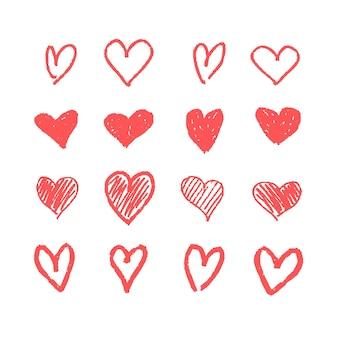 Doodle coração conjunto
