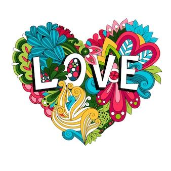 Doodle coração floral com letras de amor para cartão de dia dos namorados