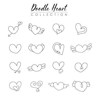 Doodle coração para coleção de dia dos namorados, elemento desenhado à mão.