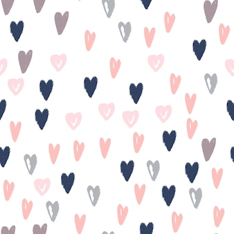 Doodle corações mão desenhada sem costura padrão. textura de fundo moderno para papel de embrulho, design têxtil e papel de parede. ilustração vetorial