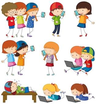 Doodle crianças atividades em branco