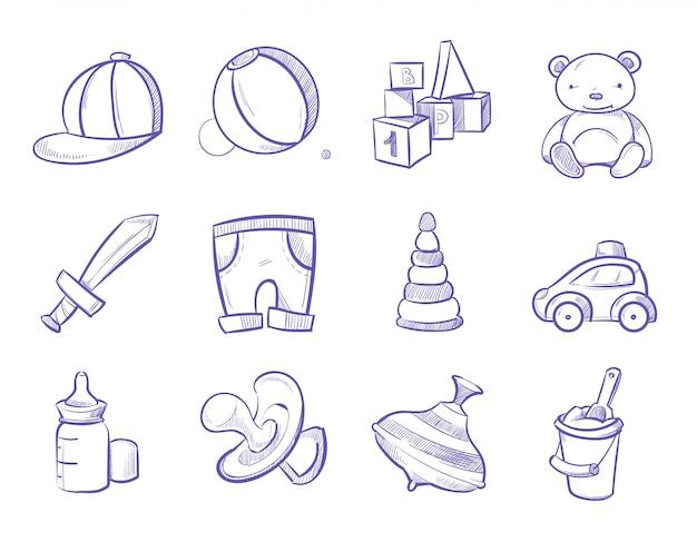 Doodle crianças brinquedos vector mão desenhando conjunto