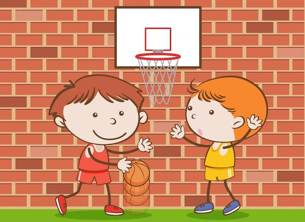 Doodle crianças jogando basquete na escola