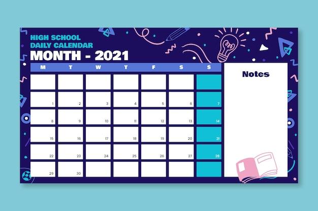Doodle criativo calendário diário do ensino médio