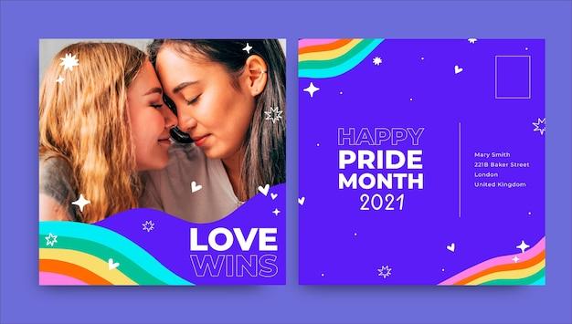 Doodle criativo lgbt cartão postal de amor