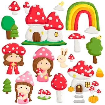 Doodle cute fairy on forest mushroom houses