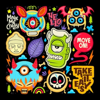 Doodle cute monster sticker icons hand drawn coloring vector