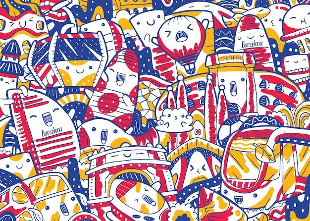 Doodle da paisagem urbana de barcelona em estilo design plano