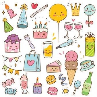 Doodle de aniversário em ilustração vetorial de estilo kawaii