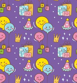 Doodle de aniversário em plano de estilo kawaii