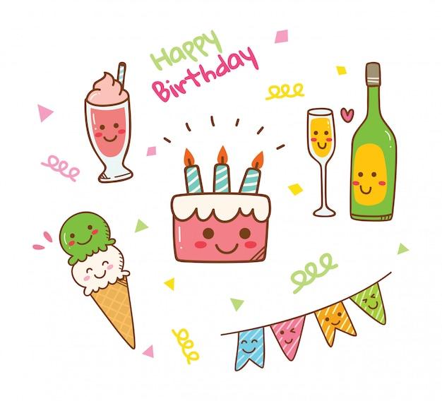 Doodle de aniversário estilo kawaii
