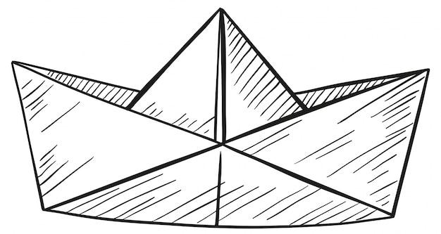 Doodle de barco de papel