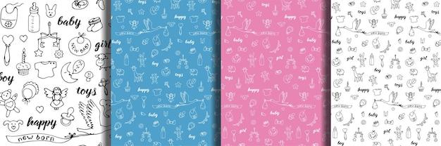 Doodle de bebê e letras desenhadas à mão padrões sem emenda definidos papéis de parede de desenhos animados com brinquedo de menina