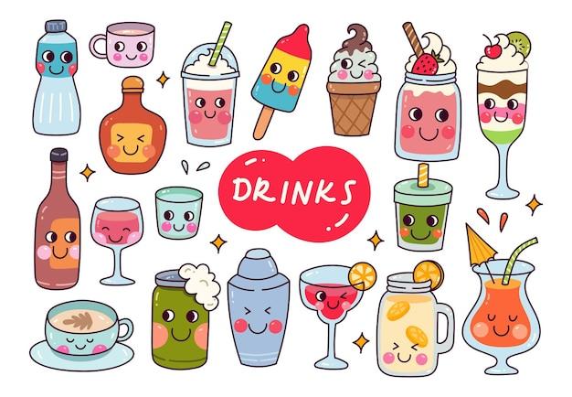 Doodle de bebidas kawaii isolado no fundo branco