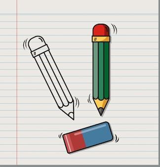 Doodle de borracha e lápis