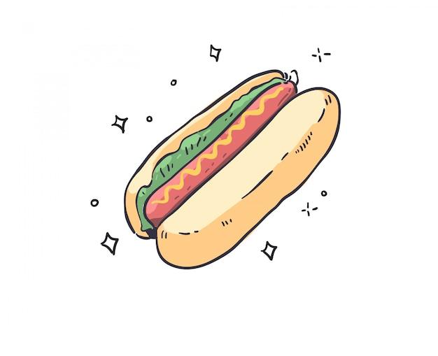 Doodle de cachorro-quente. ilustração de cachorro-quente