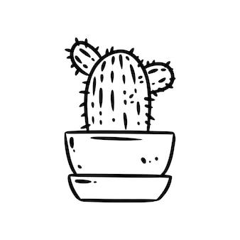 Doodle de cacto. imagem de ícone de planta suculenta bonito dos desenhos animados. humor hygge isolado no logotipo de fundo branco. a mídia destaca o símbolo gráfico