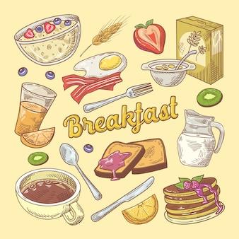 Doodle de café da manhã desenhado à mão com torradas e panquecas
