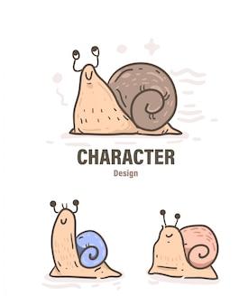 Doodle de caracol de estilo dos desenhos animados. ilustração de caracol