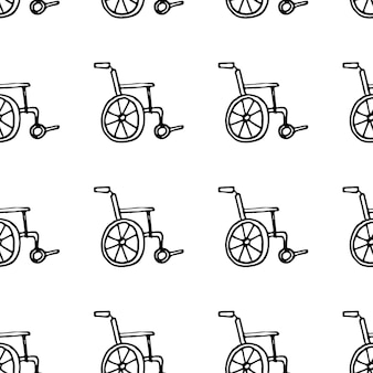 Doodle de carruagem com deficiência desenhada à mão padrão sem emenda. ícone de estilo de esboço. elemento de decoração. isolado em um fundo branco. design plano. ilustração vetorial.