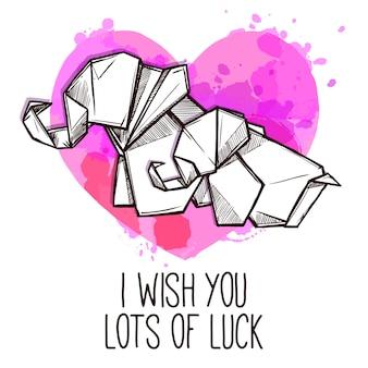 Doodle de cartão de dia especial de elefantes de origami