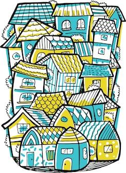 Doodle de casa geminada em estilo design plano