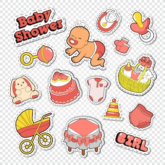 Doodle de chá de bebê com brinquedos e bolo