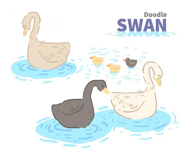 Doodle de cisne de estilo dos desenhos animados. cisne