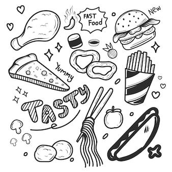 Doodle de comida desenhado à mão