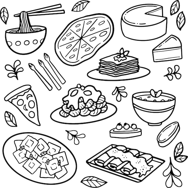 Doodle de comida italiana