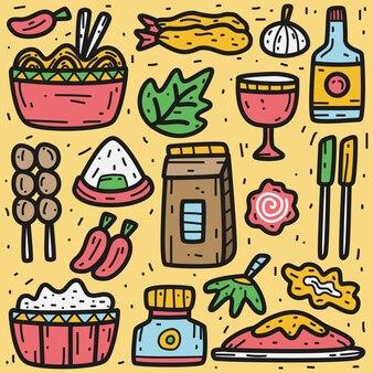 Doodle de comida kawaii desenhado à mão