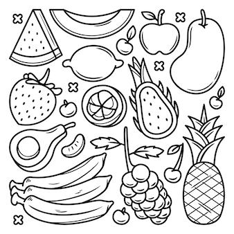 Doodle de conjunto de frutas