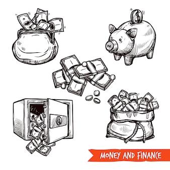 Doodle de conjunto de símbolos de finanças desenhada de mão