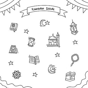 Doodle de contorno de ramadã