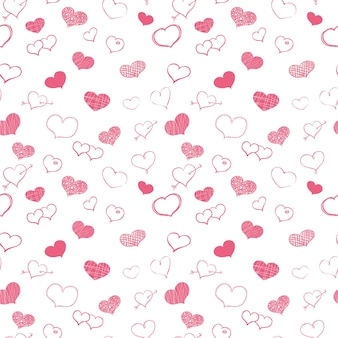 Doodle de corações rosa em fundo branco vectror padrão sem emenda