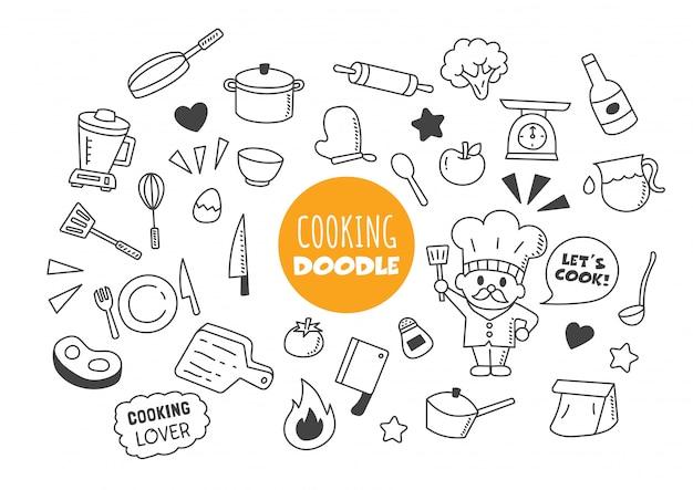 Doodle de cozinha kawaii