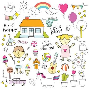 Doodle de crianças fofos